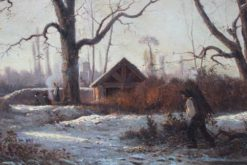 Romantic Winter Landscape with Farmers Collecting Wood and Warming by the Fire | Adolphe Appian | Oil Painting