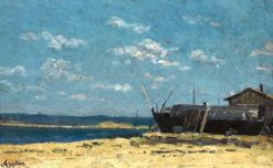 Beach Area with Boat and House | Adolphe Appian | Oil Painting