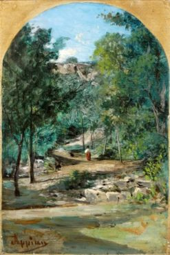 Near Aix on the Ain: Strollers on a Wooded Path | Adolphe Appian | Oil Painting