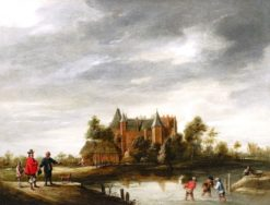 View of a Chateau   Thomas van Apshoven   Oil Painting