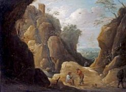 Travelers Resting by a Creek in a Rocky Landscape | Thomas van Apshoven | Oil Painting