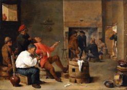 Inn Interior with Smoking Farmers | Thomas van Apshoven | Oil Painting