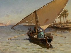 Nile fishing boat in Cairo | John Varley the Younger | Oil Painting