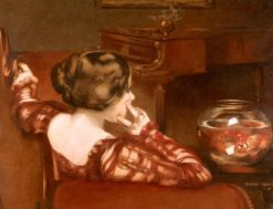 A Girl Seated by a Bowl of Goldfish | George Henry | Oil Painting