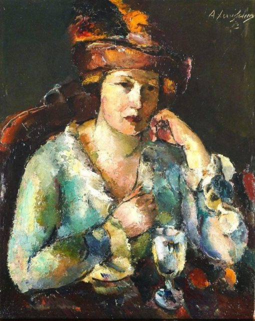 Lady with a Wine Glass | Anton Faistauer | Oil Painting