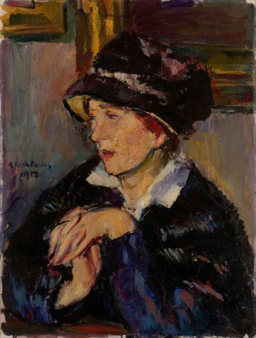 Portrait of a Lady with Hat | Anton Faistauer | Oil Painting
