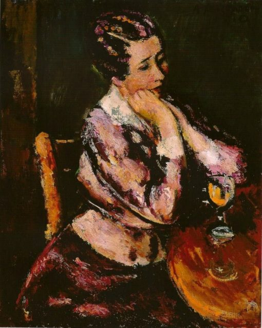 Woman with a wineglass at the table   Anton Faistauer   Oil Painting