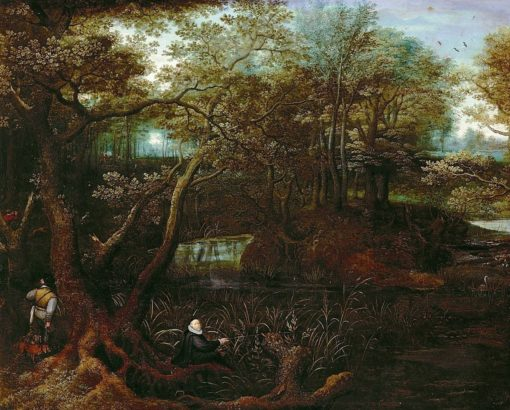 Fisherman at the forest pond | Lucas van Valckenborch | Oil Painting