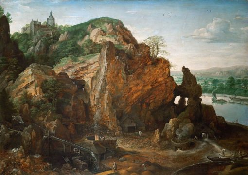 Meuse landscape with a mine and smelters | Lucas van Valckenborch | Oil Painting