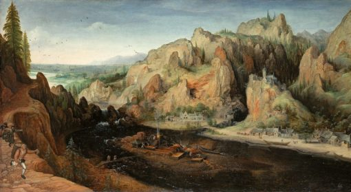 Mountain landscape with assault by robbers and stucco oven | Lucas van Valckenborch | Oil Painting