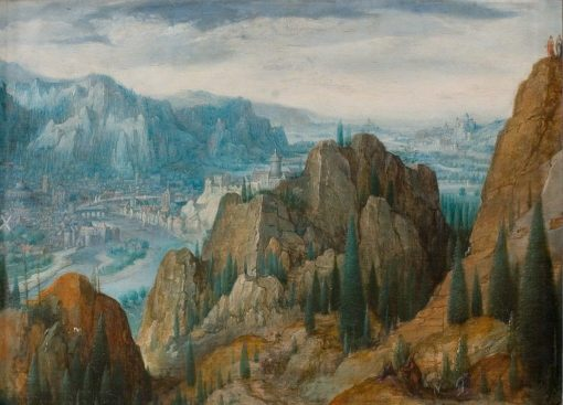 Mountainous landscape with the temptations of Christ | Lucas van Valckenborch | Oil Painting