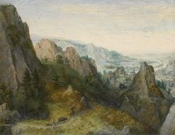 Rocky Landscape with Travelers on a Path