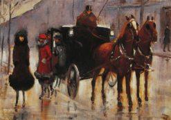 Ladies Leaving the Cab | Lesser Ury | Oil Painting
