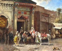 The Gun Buyer (also known as Outside a Moroccan Bazaar Gate) | Edwin Lord Weeks | Oil Painting