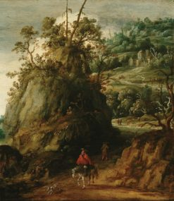 Mountainous landscape with traveller | Esaias van der Velde I | Oil Painting