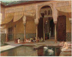 Feeding swans in the harem   Filippo Baratti   Oil Painting