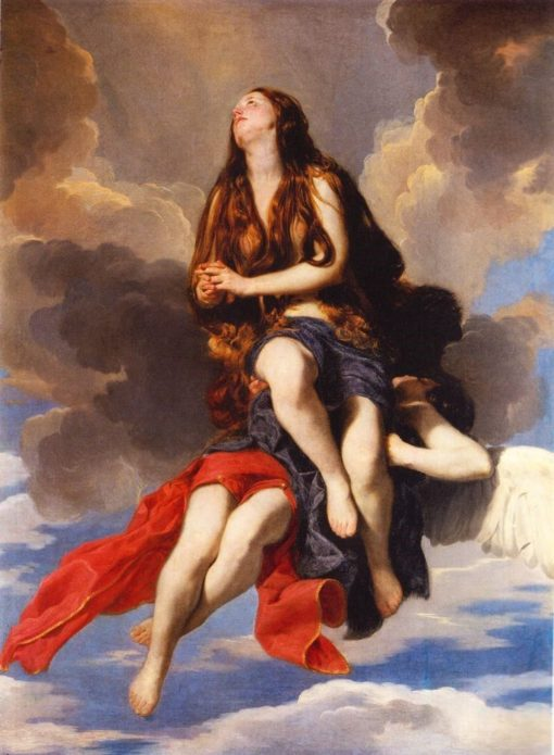 Magdalene raised by an angel | Guido Cagnacci | Oil Painting