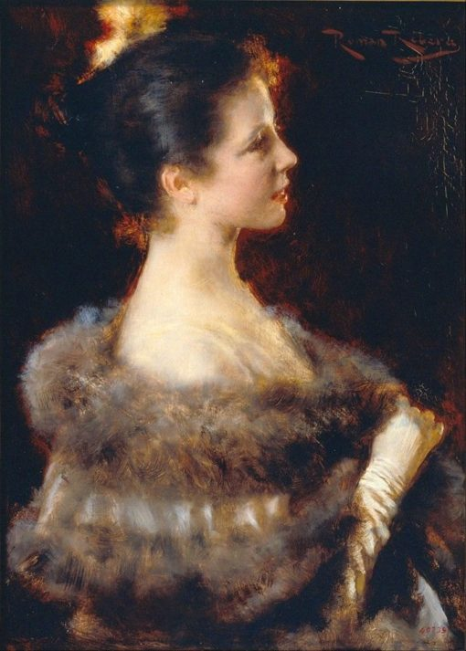 Woman in Evening Gown   Roman Ribera Cirera   Oil Painting