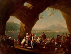 Naples from the west with peasants gaming | Pietro Fabris | Oil Painting