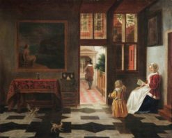 Interior with a woman reading and and a child with a hoop | Pieter de Hooch | Oil Painting