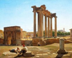 View of the Roman Forum with the Temple of Concordia and the Arch of Septimius Severus | Constantin Hansen | Oil Painting