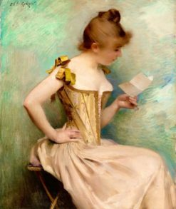 The Letter   Charles Giron   Oil Painting