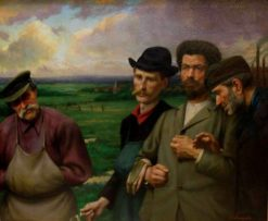 Workers returning from work   Joseph Leempoels   Oil Painting