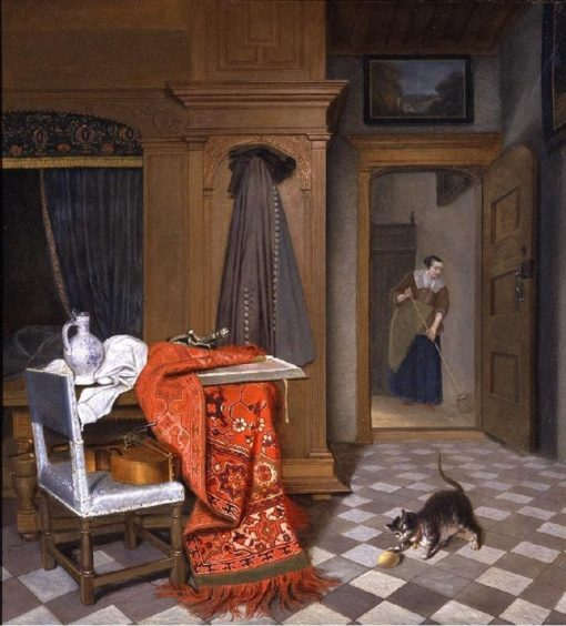Interior with a Woman Sweeping   Cornelis de Man   Oil Painting