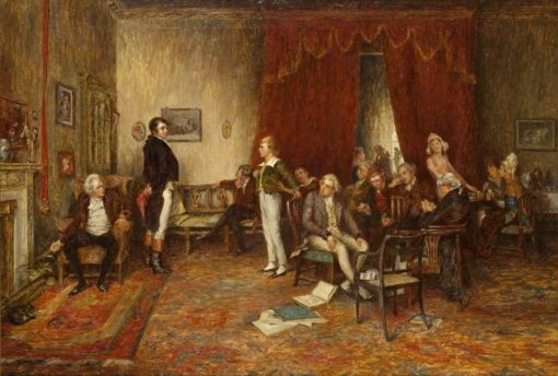 The Meeting of Robert Burns and Sir Walter Scott at Sciennes Hill House | Charles Martin Hardie | Oil Painting