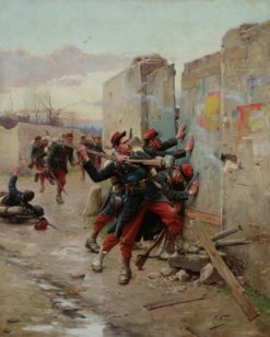 French infantry storming a fort during Franco-Prussian War | Paul-Louis-Narcisse Grolleron | Oil Painting