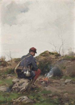 A soldier making a campfire | Paul-Louis-Narcisse Grolleron | Oil Painting