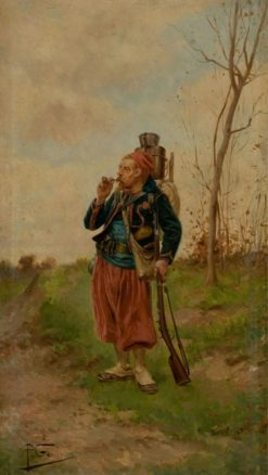 French Soldier Smoking | Paul-Louis-Narcisse Grolleron | Oil Painting