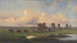 A caravan of gauchos and their wagons crossing the pampas | Jean Leon Pallière | Oil Painting