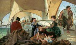 Famille sur le pont d'un brick | Jean Leon Pallière | Oil Painting
