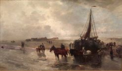 Launching a fisher boat in Holland | Gregor von Bochmann | Oil Painting