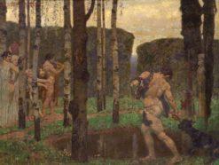 Greek figures in a wooded garden | Alexander Rothaug | Oil Painting