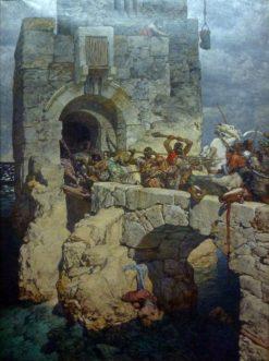 Battle on the Bridge | Alexander Rothaug | Oil Painting