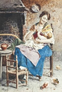 A Happy Mother | Eugenio Zampighi | Oil Painting