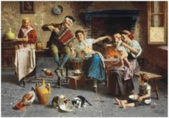 A Musical Interlude in the Kitchen | Eugenio Zampighi | Oil Painting