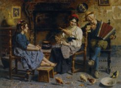 A musical serenade | Eugenio Zampighi | Oil Painting
