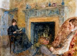 Jack and Cottie Yeats by the Fireplace