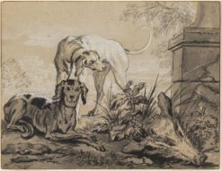 After the Hunt- Two Hounds beside a Boar's Head | Jean-Baptiste Oudry | Oil Painting