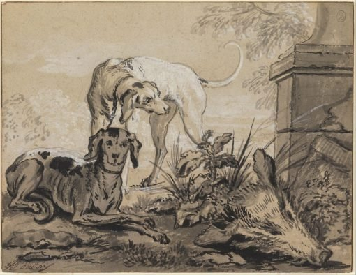 After the Hunt- Two Hounds beside a Boar's Head   Jean-Baptiste Oudry   Oil Painting