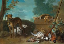 Two hunting dogs with hares and game birds | Jean-Baptiste Oudry | Oil Painting