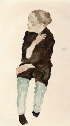 Boy with Green Stockings (also known as Bub mit grünen Strümpfen) | Egon Schiele | Oil Painting