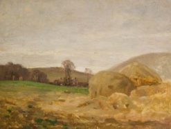 Landscape with Haystacks   Benjamin Haughton   Oil Painting