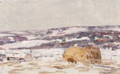 Winter Landscape with a Haystack   Nikolai Nikanorovich Dubovskoy   Oil Painting