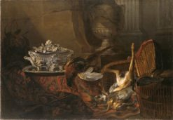 Still Life with Dead Game and a Silver Tureen on a Turkish Carpet | Jean-Baptiste Oudry | Oil Painting