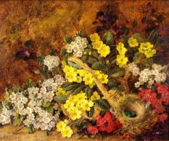 Still Life of Flowers with Bird's Nest | George Clare | Oil Painting