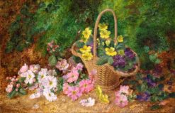 Still Life of Flowers and a Basket | George Clare | Oil Painting